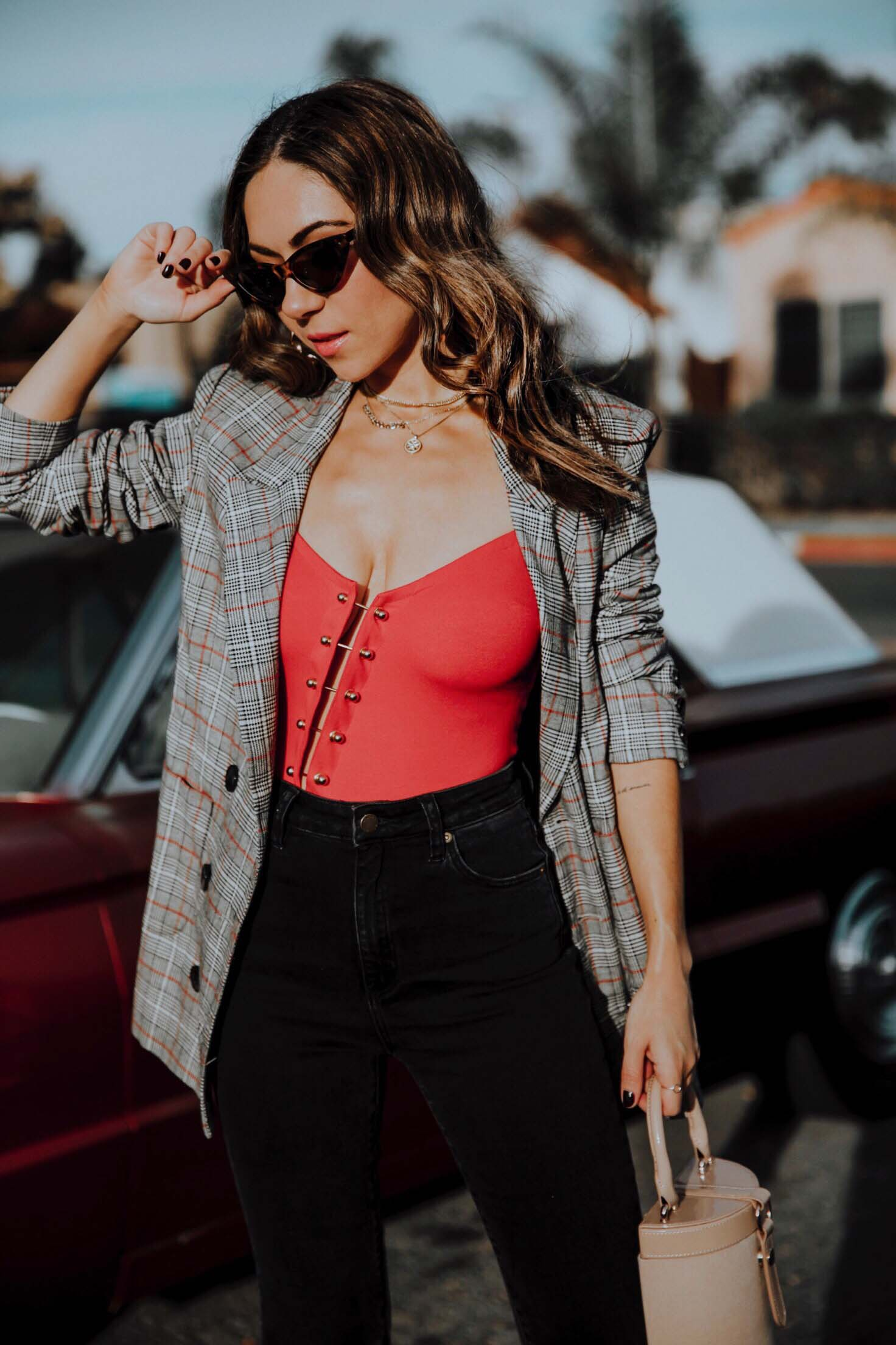 How to style a plaid blazer with a sexy twist this Holiday Season