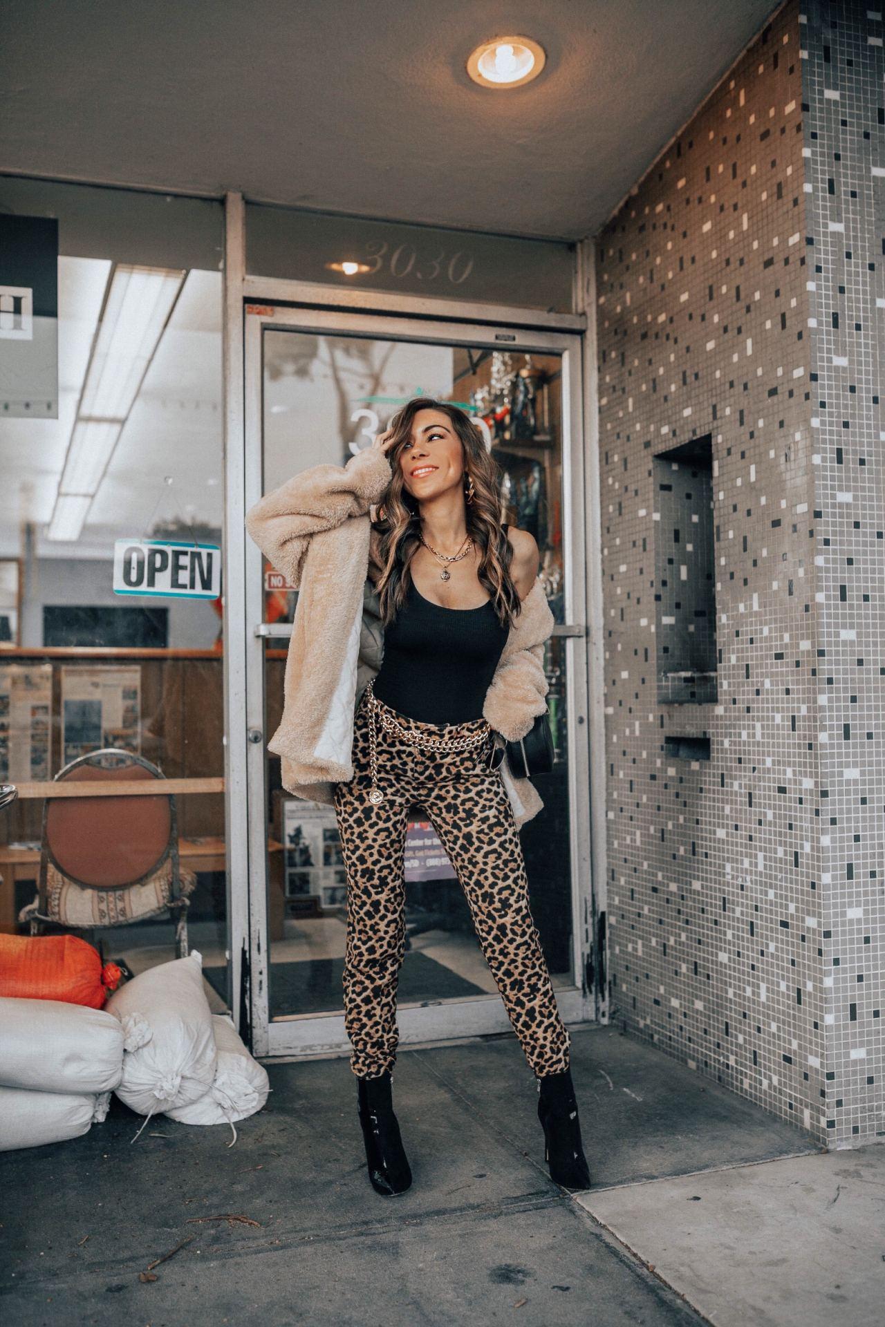 Cheetah_print_trousers_Faux_Fur_Jacket_Sexy_Bodysuit_Style_with_Nihan_San_Diego