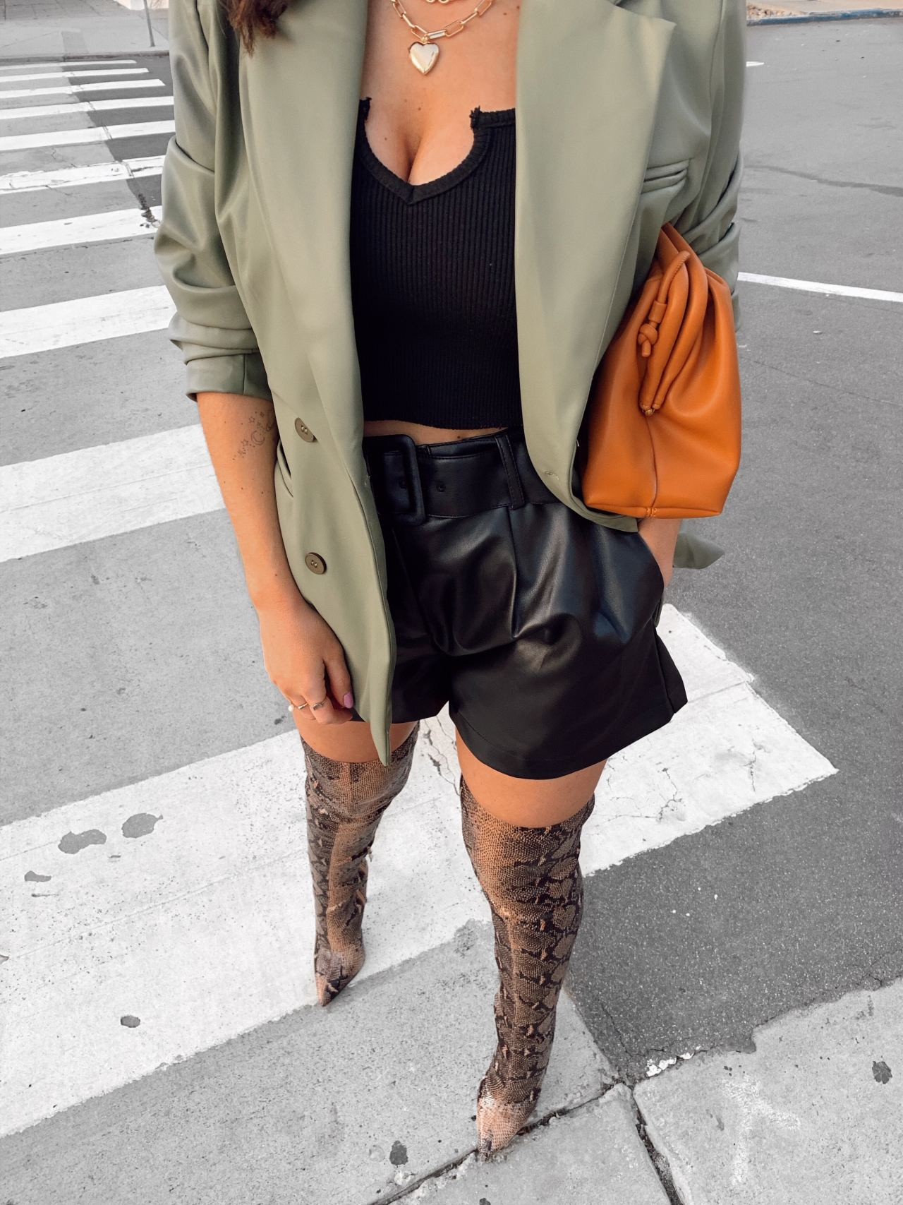 The over the knee snake print boots you need this season