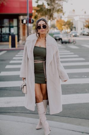 Style with Nihan wearing Privacy Please mini knit dress, HM faux fur coat and Public Desire knee high boots Downtown San Diego