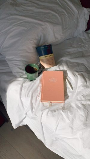White Water Cambria deluxe king room morning light coffee and gratitude journal and dose & co collagen