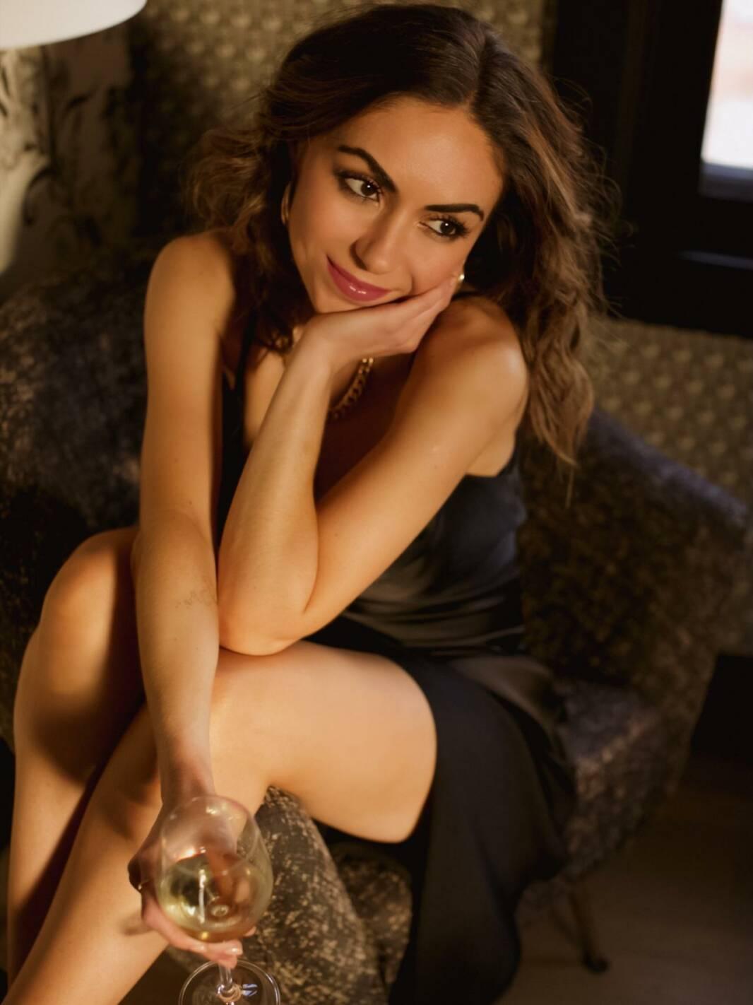 Travel Blogger Nihan Gorkem wearing a slip dress at San Francsico Proper Boutique Hotel